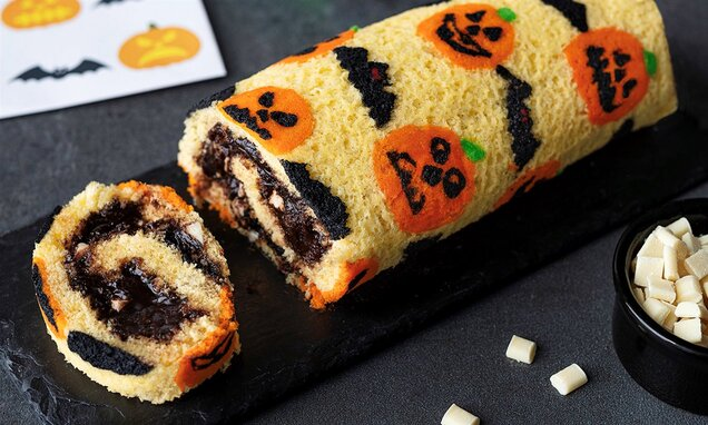 halloween patterned chocolate roll